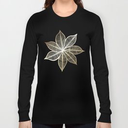 Gold Flower on Turquoise & Pink Watercolor Long Sleeve T-shirt