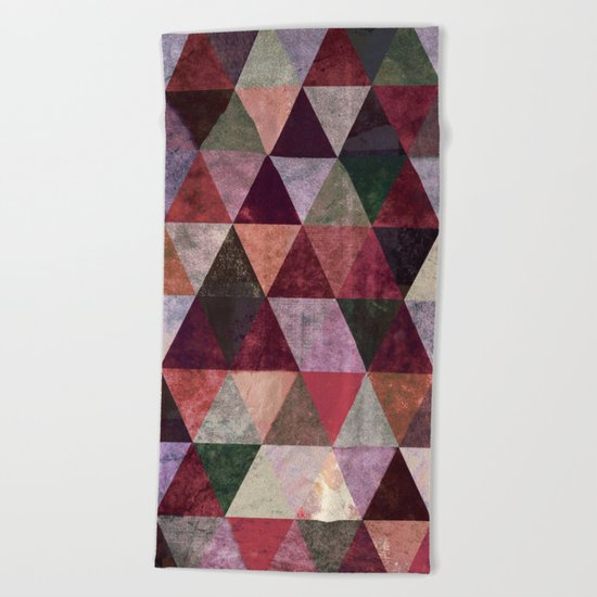 Abstract #480 Grunge Triangles #2 Beach Towel