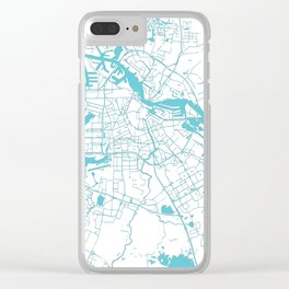 Amsterdam White on Turquoise Street Map Clear iPhone Case