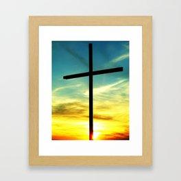 Cross and Sunset Framed Art Print