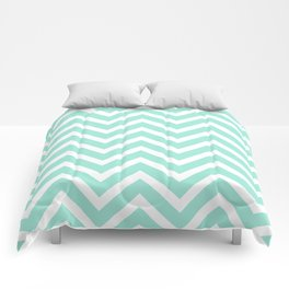 Chevron Stripes : Seafoam Green & White Comforters
