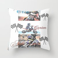 moto Throw Pillows featuring Moto Kids by Connie Campbell