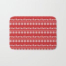 Scottish Terrier Silhouettes Christmas Sweater Pattern Bath Mat