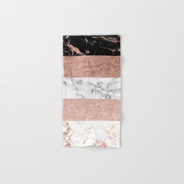 Modern chic color block rose gold marble stripes pattern Hand & Bath Towel