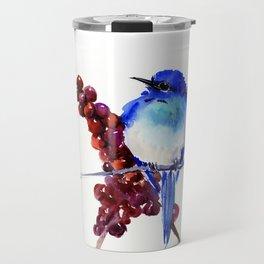 Bird Blue red , Mountain Bluebird adn berries Travel Mug