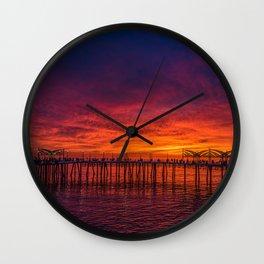 Redondo Pier Sunset Wall Clock
