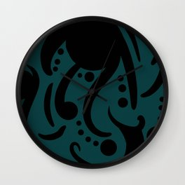 A Moderate Abstraction: Black and Blue Wall Clock