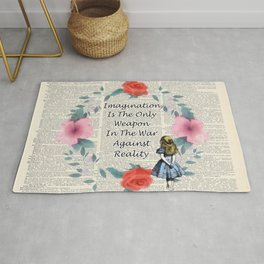 Floral Alice In Wonderland Quote on A Vintage Dictionary Page- Imagination Rug