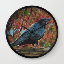 Autumn Raven Wall Clock