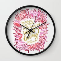 fitzgerald Wall Clocks featuring Zelda Fitzgerald – Pink on White by Cat Coquillette
