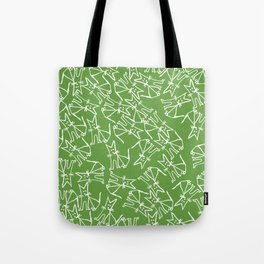 Pattern with sitting cats on light green background Tote Bag
