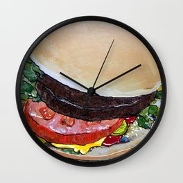 The Hamburger with Mustard, Pickle and Tomato Wall Clock