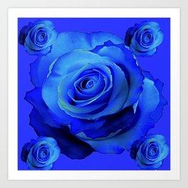 BLUE ROSES & BLUE  MODERN ART CONCEPT Art Print