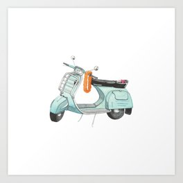 Watercolour | Bali Scooter Art Print