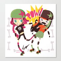 roller derby Canvas Prints featuring It's Roller Derby, sweetie! by Irene Dose