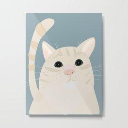 Beige orange tabby cat portrait Metal Print