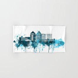Greensboro North Carolina Monochrome Blue Skyline Hand & Bath Towel