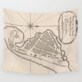 Vintage Map of Port Royal Jamaica (1764) Wall Tapestry