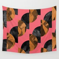 black and gold Wall Tapestries featuring gold,black by Georgiana Paraschiv