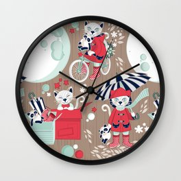 The cat who loves rainy nights // brown background Wall Clock