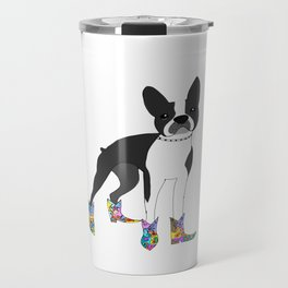 Boston Terrier with cowboy boots Travel Mug
