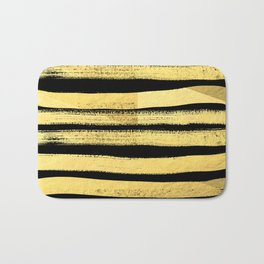 Sochie - black gold minimal black and white modern retro bold dramatic cell phone iphone case trendy Bath Mat