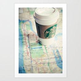 Manhattan and Starbucks Art Print