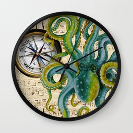 Octopus Compass Green Music Collage Wall Clock