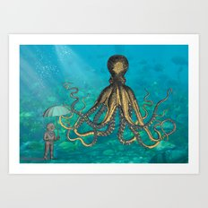 Octopus & The Diver Art Print