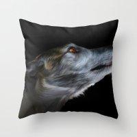 greyhound Throw Pillows featuring Greyhound by Julie Hoddinott