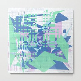 Random green, pink and blue shapes on white messy blue lines wall Metal Print