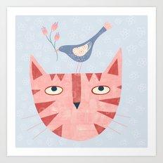 Cat, bird and flower Art Print