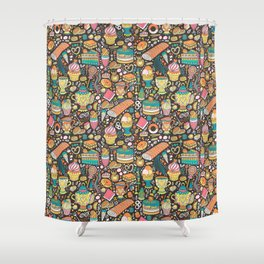 Tea party pattern on chocolate Shower Curtain