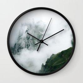 Mountain Range in the Fog Wall Clock