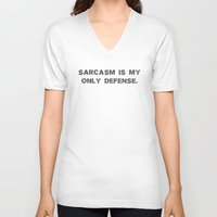 sarcasm V-neck T-shirts featuring Sarcasm by Alisa Galitsyna
