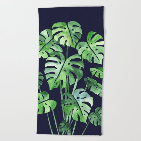 Delicate Monstera Blue #society6 Beach Towel