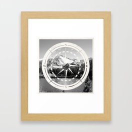 Mountain and Compass Framed Art Print