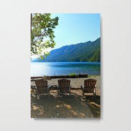 Adirondack Chairs at Lake Cresent Metal Print