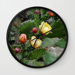 Cactus with flower Wall Clock