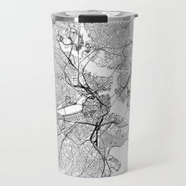Boston White Map Travel Mug