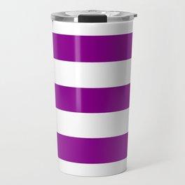 Dark magenta -  solid color - white stripes pattern Travel Mug