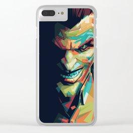 Joker Pop Art Portrait Clear iPhone Case