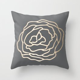 Rose White Gold Sands on Storm Gray Throw Pillow