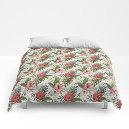 Tropical Flower and Leaves Be like a Pineapple Quote Comforters