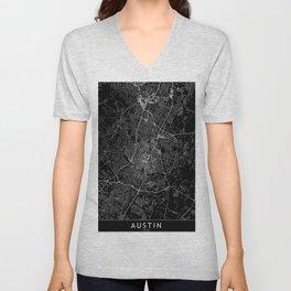 Austin Black Map Unisex V-Neck
