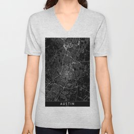 Austin Black Map Unisex V-Neck