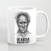 clint eastwood Mugs featuring CLINT EASTWOOD  by Ani Dvaladze