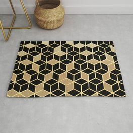 Black And Gold Gradient Cubes Shower Curtain Rug