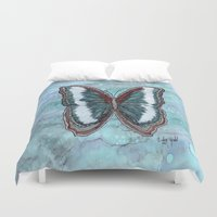 patriotic Duvet Covers featuring Patriotic Butterfly by Linda Ginn Art ©