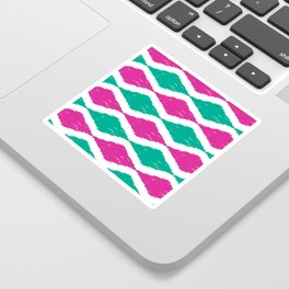 Summer Jumbo Zoom Scale Ikat Print in Magenta and Turquoise Sticker